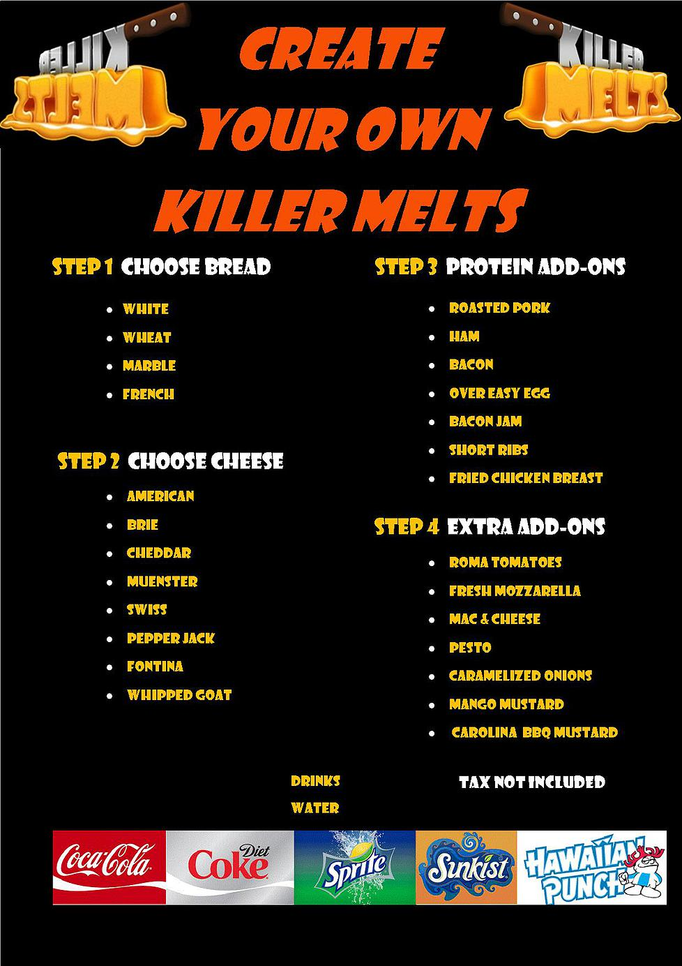 Killer melts food truck dade broward palm beach jeff for Kitchen 88 food truck utah menu